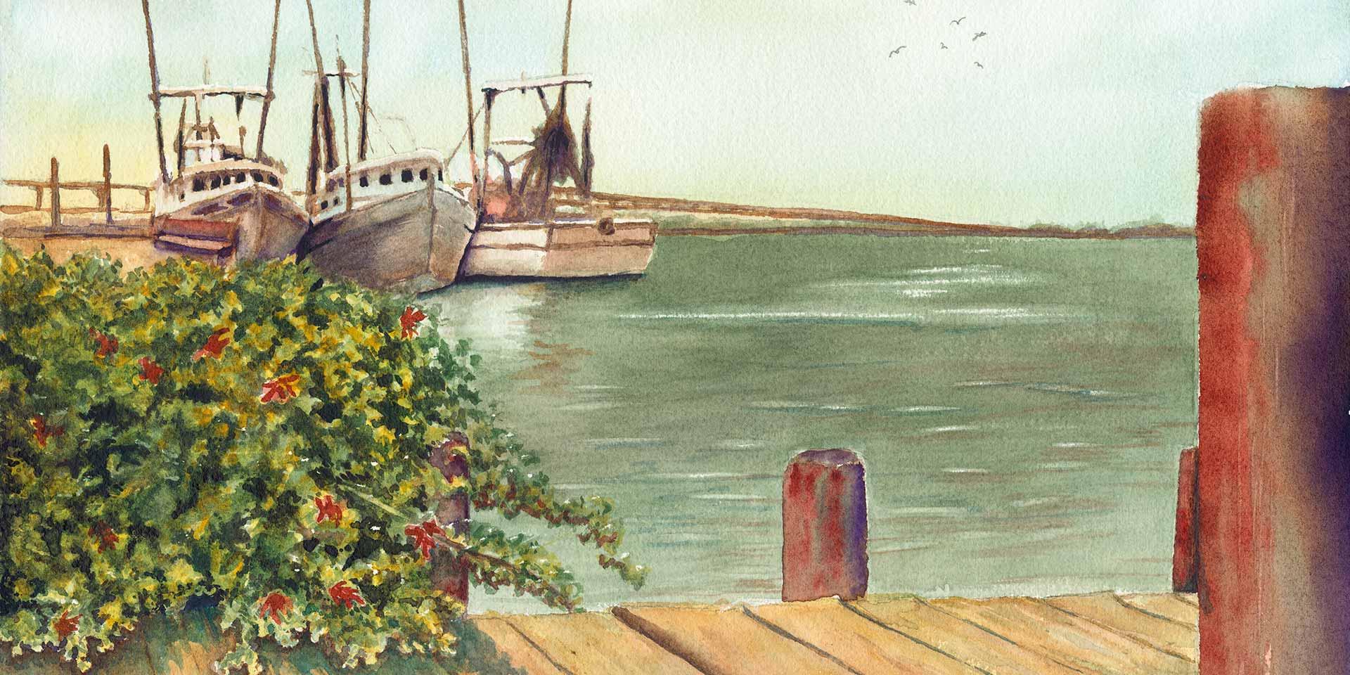 Ladies a' Waiting, Watercolor by Linda Eddins